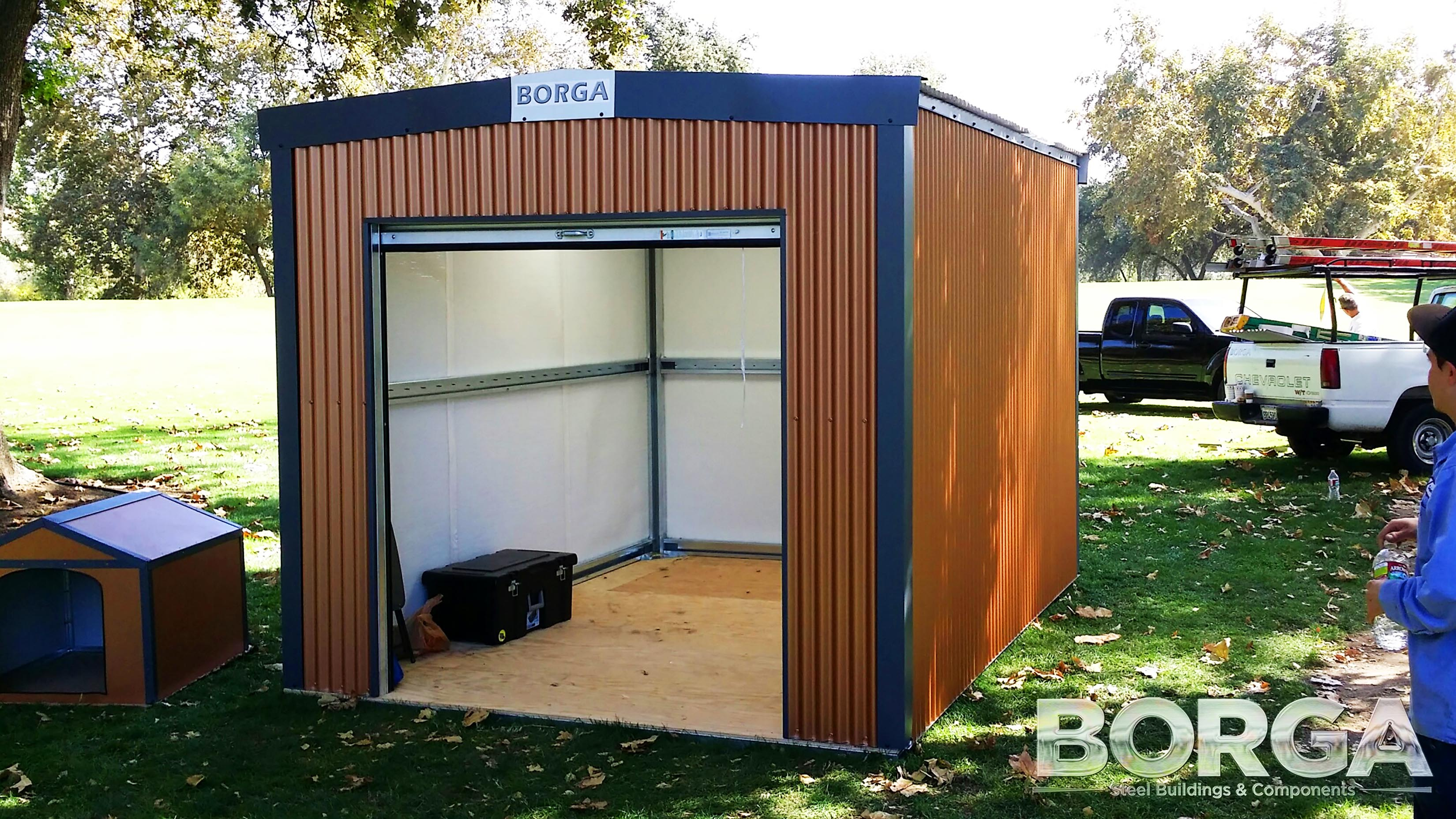 Amazing Borga Steel Buildings Components Fresno Ca California Brown Blue Doghouse Shed  Storage Man Cave Fowler