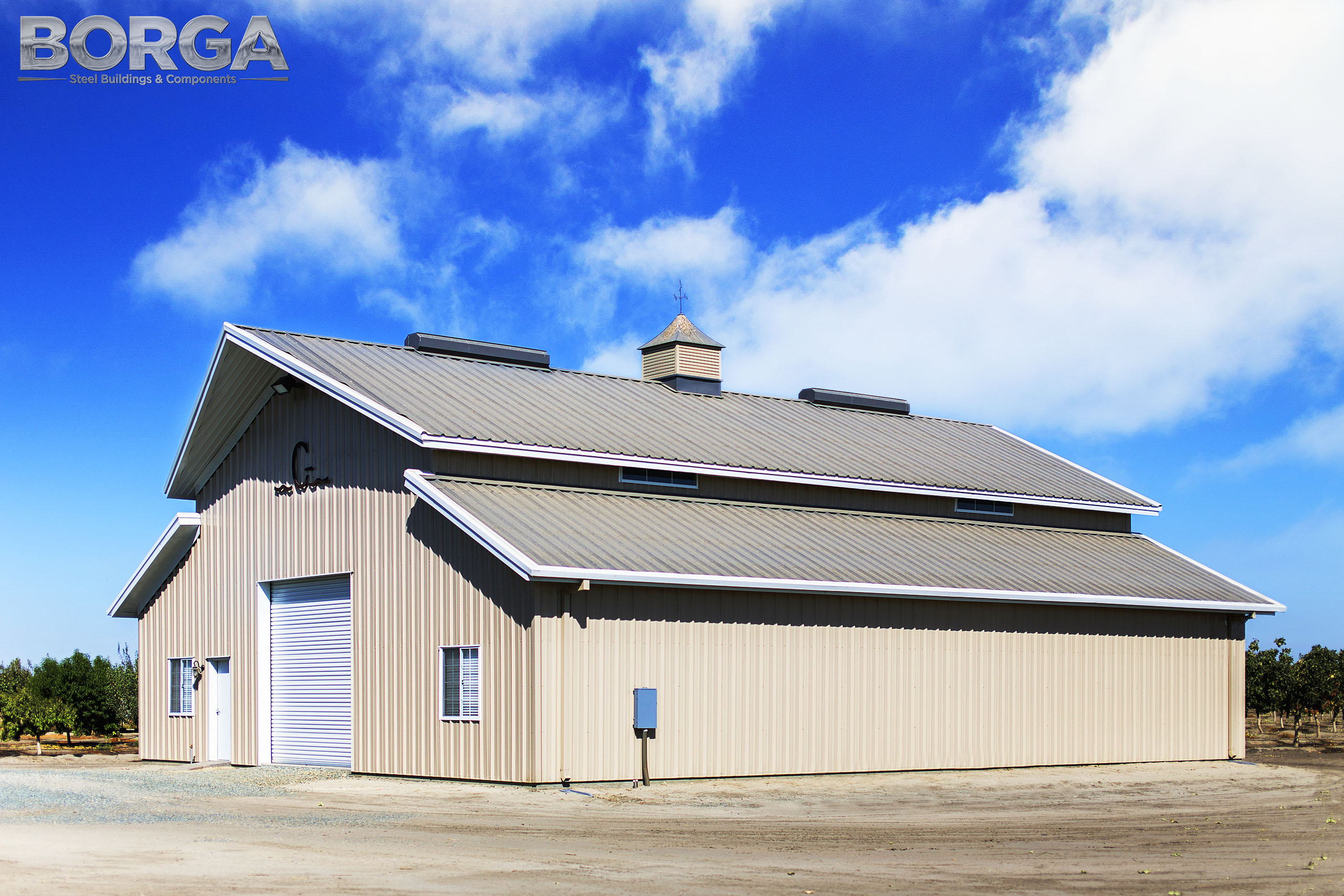 borga steel buildings components gilkey farms corcoran ca central valley metal agriculture tan white rca raised center aisle 5