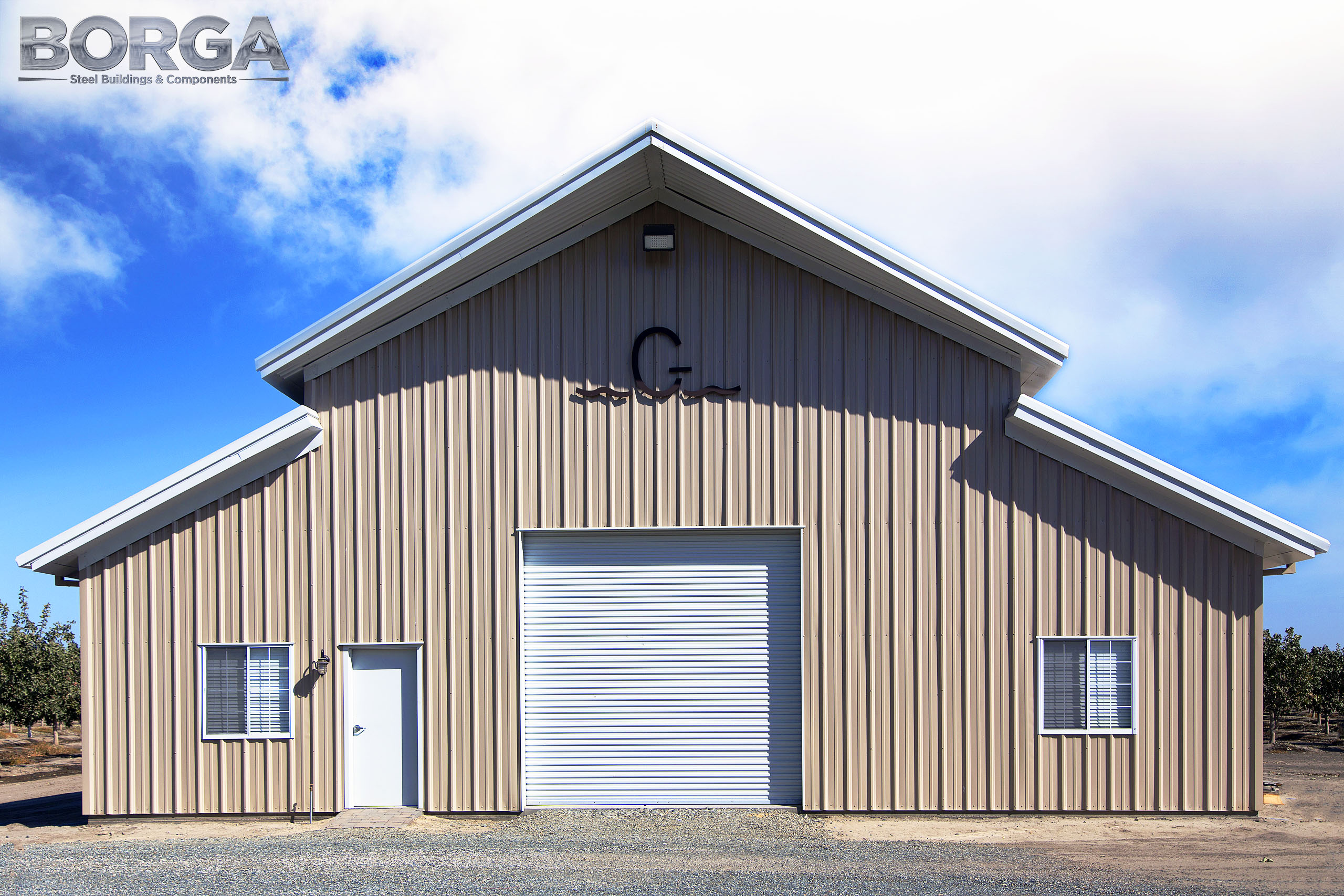 borga steel buildings components gilkey farms corcoran ca central valley metal agriculture tan white rca raised center aisle 4
