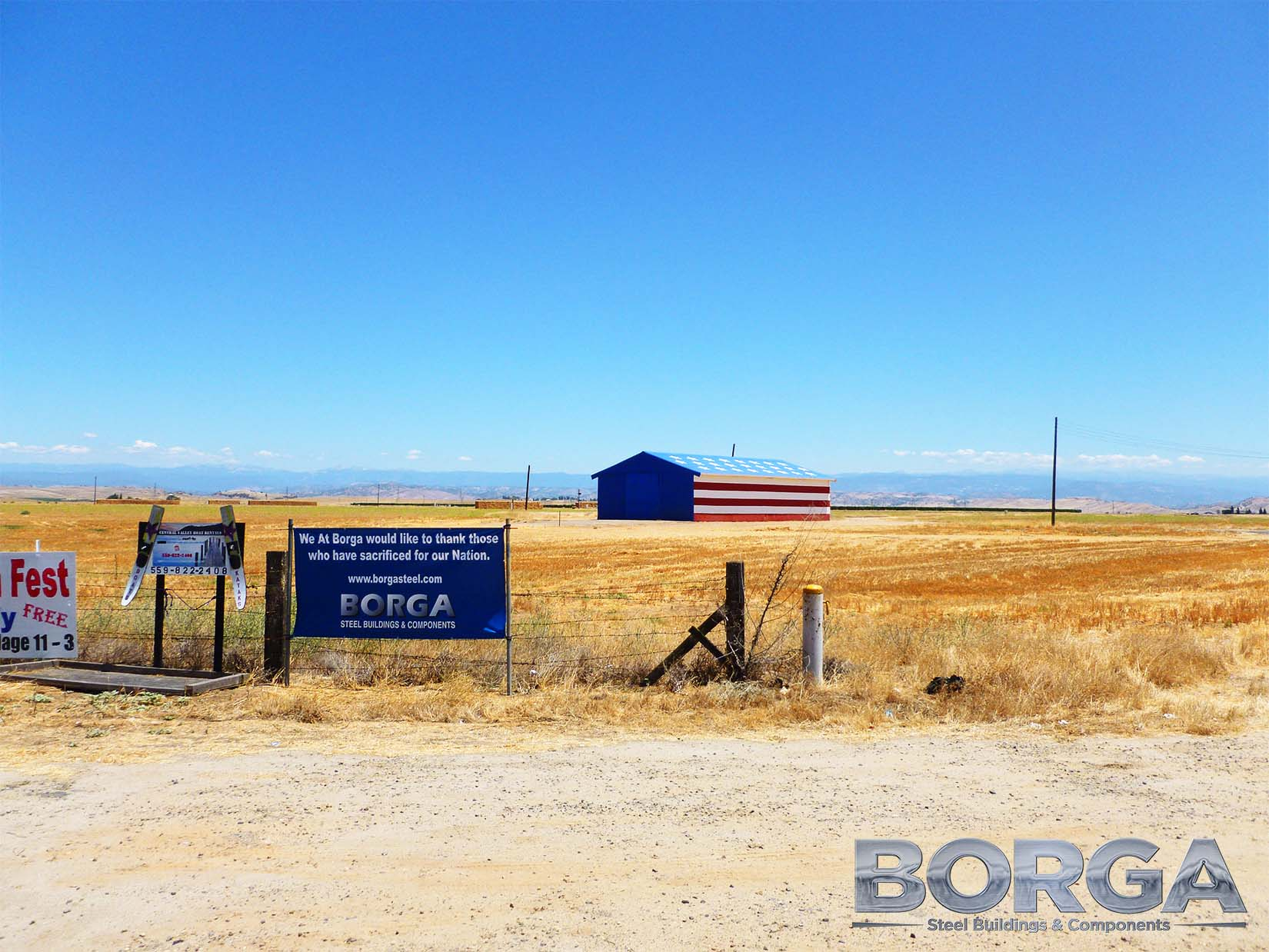 borga steel buildings components fresno california america usa flag stars and stripes red white blue